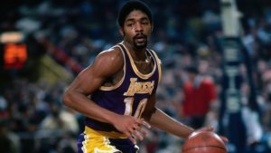 BOSTON - 1980: Norm Nixon #10 of the Los Angeles Lakers moves the ball up the court during a game played in 1980 at the Boston Garden in Boston, Massachusetts. NOTE TO USER: User expressly acknowledges and agrees that, by downloading and or using this photograph, User is consenting to the terms and conditions of the Getty Images License Agreement. Mandatory Copyright Notice: Copyright 1980 NBAE (Photo by Dick Raphael/NBAE via Getty Images)
